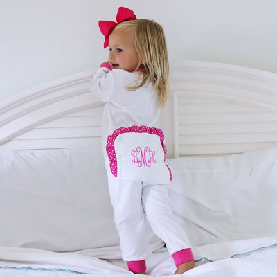 White w Hot Pink 1-Piece Knit Loungewear