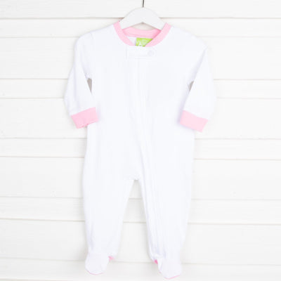 White w Light Pink 1-Piece Knit Loungewear