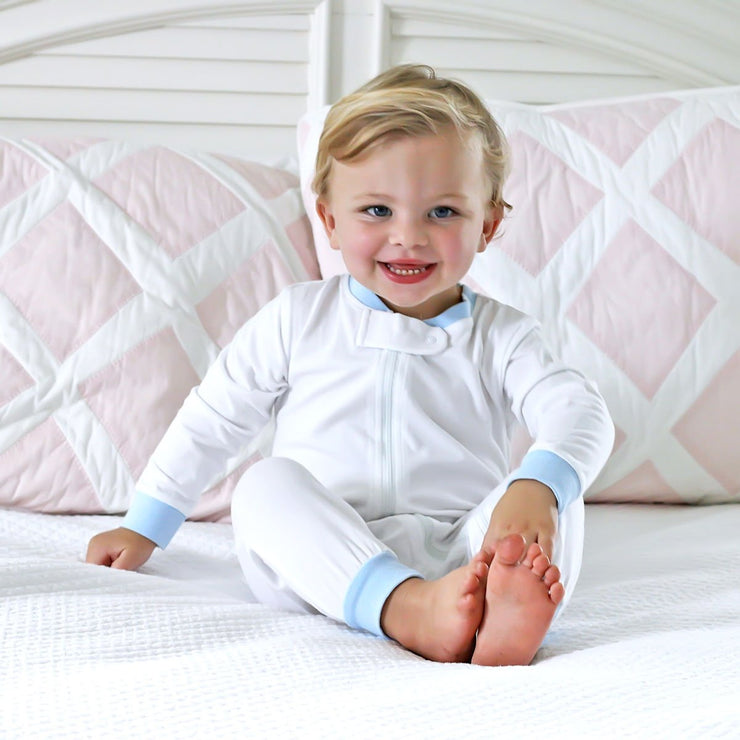 White w Sky Blue Boys 1-Piece Knit Loungewear