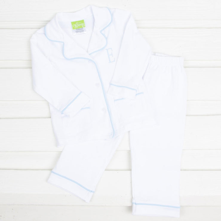 White with Light Blue Menswear Knit Loungewear
