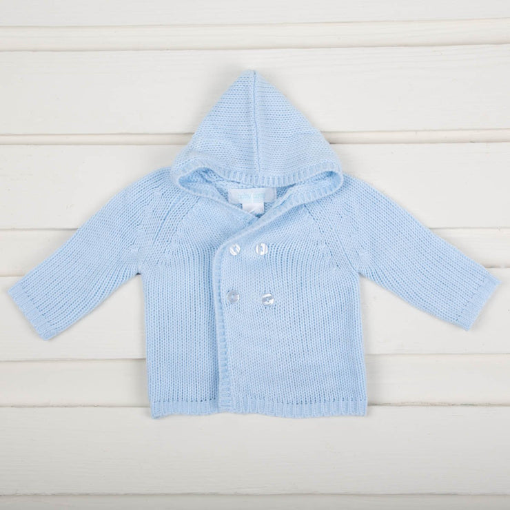 Light Blue Knit Cardigan With Hoodie