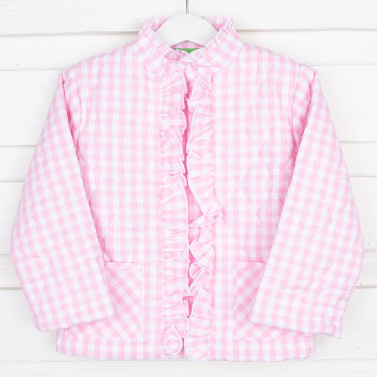 Pink Check Quilted Ruffle Coat