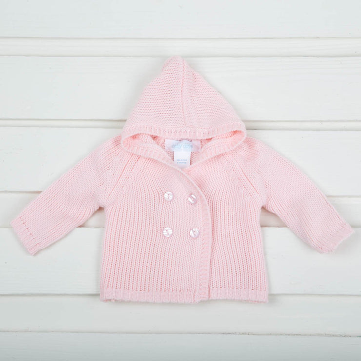 Pink Knit Cardigan With Hoodie