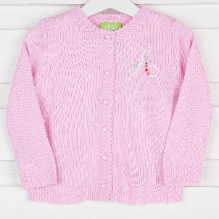 Pink Pearl Button Up Sweater