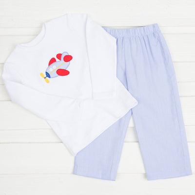 Applique Airplane Pant Set Light Blue Gingham