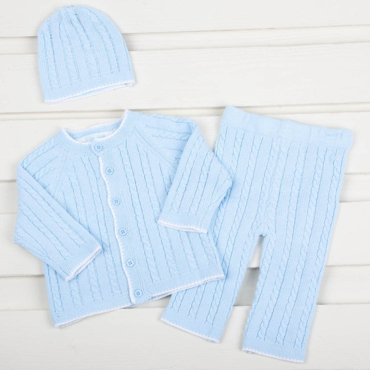 Baby Blue Cable Knit Sweater Pant Set
