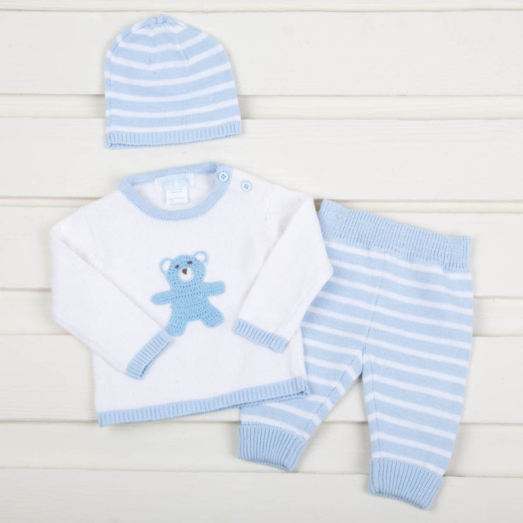 Baby Blue Knit Sweater Pant Set With Bear Crochet Applique