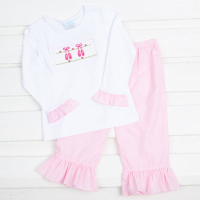 Ballet Slipper Smocked Pant Set Light Pink Gingham