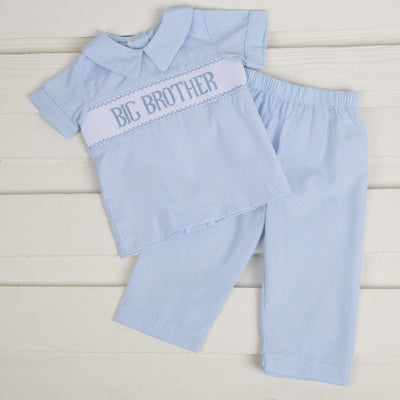 Big Brother Smocked Collared Pant Set Light Blue Gingham