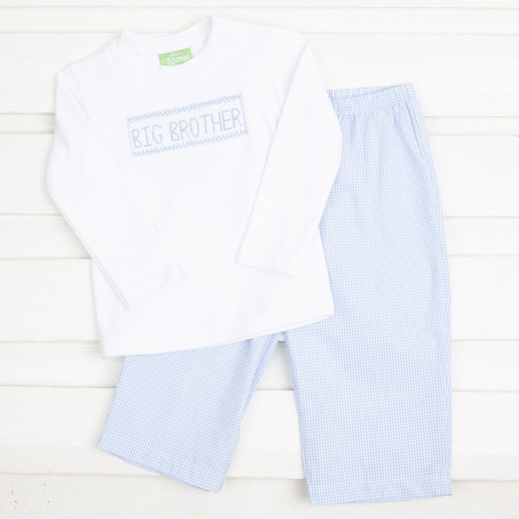 Big Brother Smocked Pant Set Light Blue Gingham