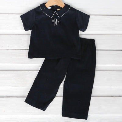 Boys Collared Pant Set Navy Corduroy