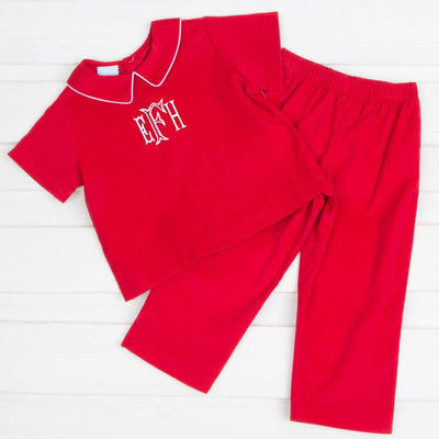 Collared Boy Pant Set Red Corduroy