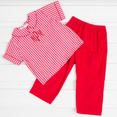 Collared Boys Pant Set Red Check