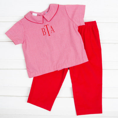 Collared Pant Set Red Gingham and Corduroy