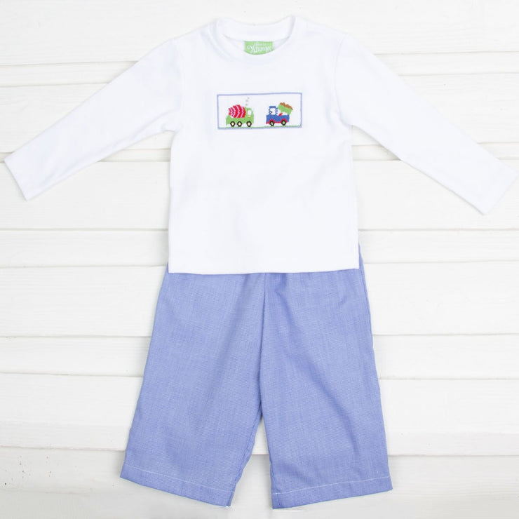 Construction Truck Smocked Pant Set Royal Gingham