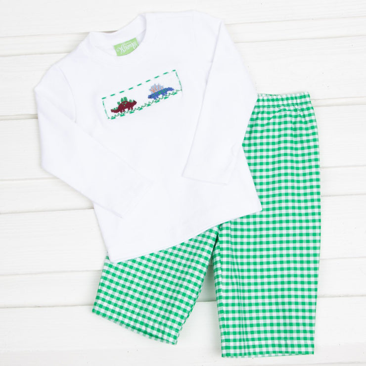 Dinosaur Smocked Pant Set Green Check