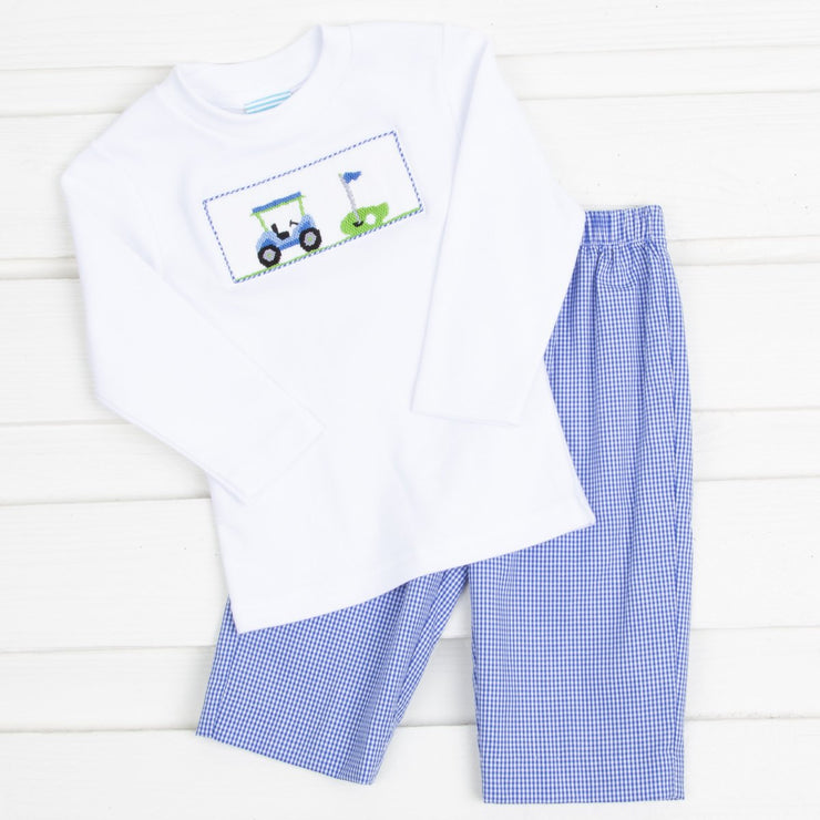 Golf Smocked Pant Set Royal Blue Gingham