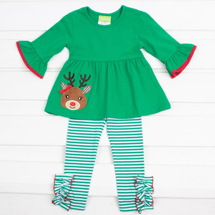 Green Stripe Knit Reindeer Legging Set