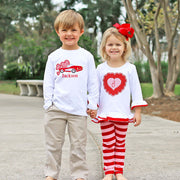 Heart Applique Red and Pink Stripe Legging Set