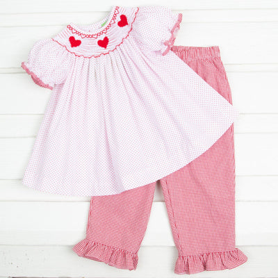 Heart Smocked Pant Set Red Dot