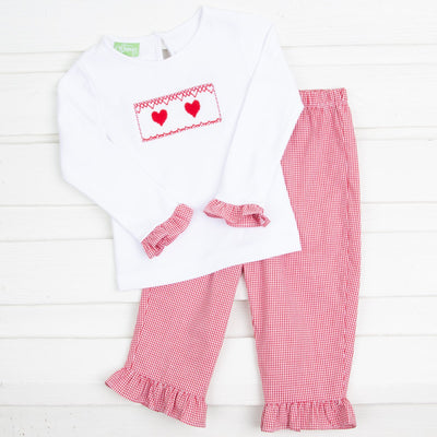 Heart Smocked Pant Set Red Gingham