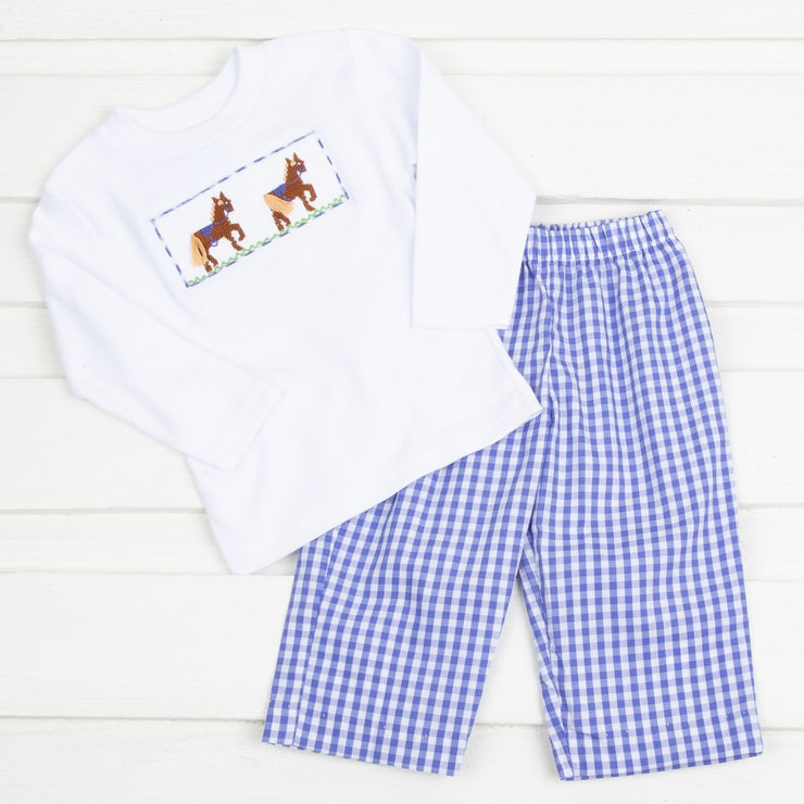 Horse Smocked Pant Set Royal Blue Check