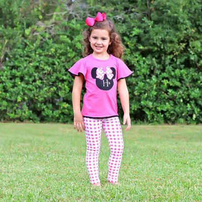 Mouse Ears Applique Legging Set Hot Pink Knit