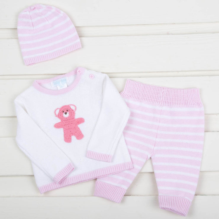 Pink Knit Sweater Pant Set With Bear Crochet Applique