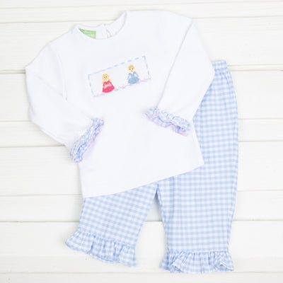 Princess Smocked Pant Set Light Blue Check