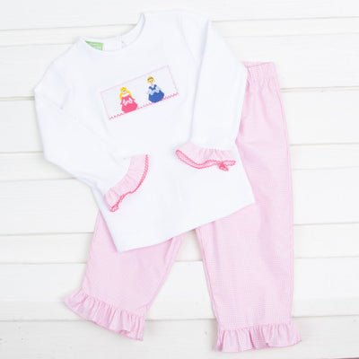 Princess Smocked Pant Set Pink Gingham