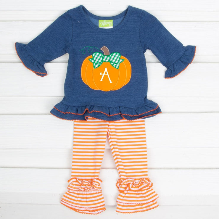 Pumpkin Chambray Legging Set Orange Stripe