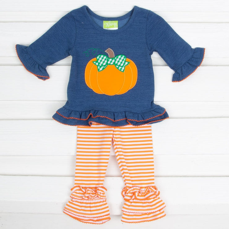 Pumpkin Chambray Legging Set Orange and White Stripe