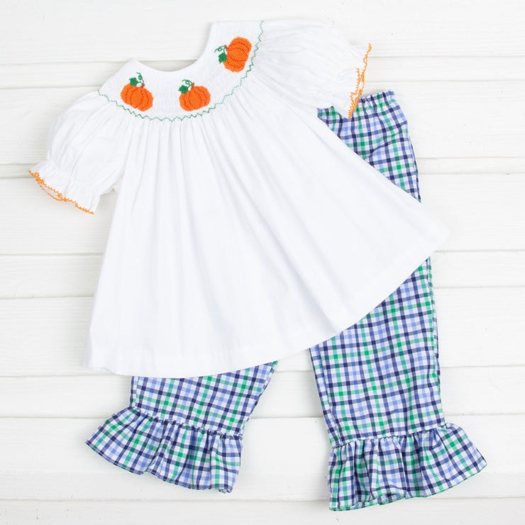 Pumpkin Smocked Girls Pant Set Blue and Green Plaid