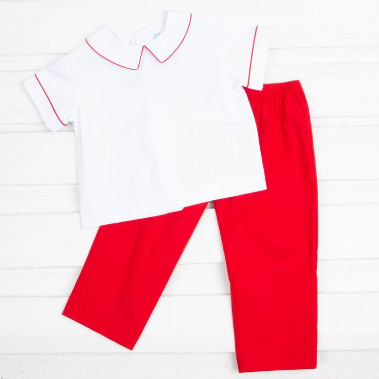 Red and White Collared Pant Set