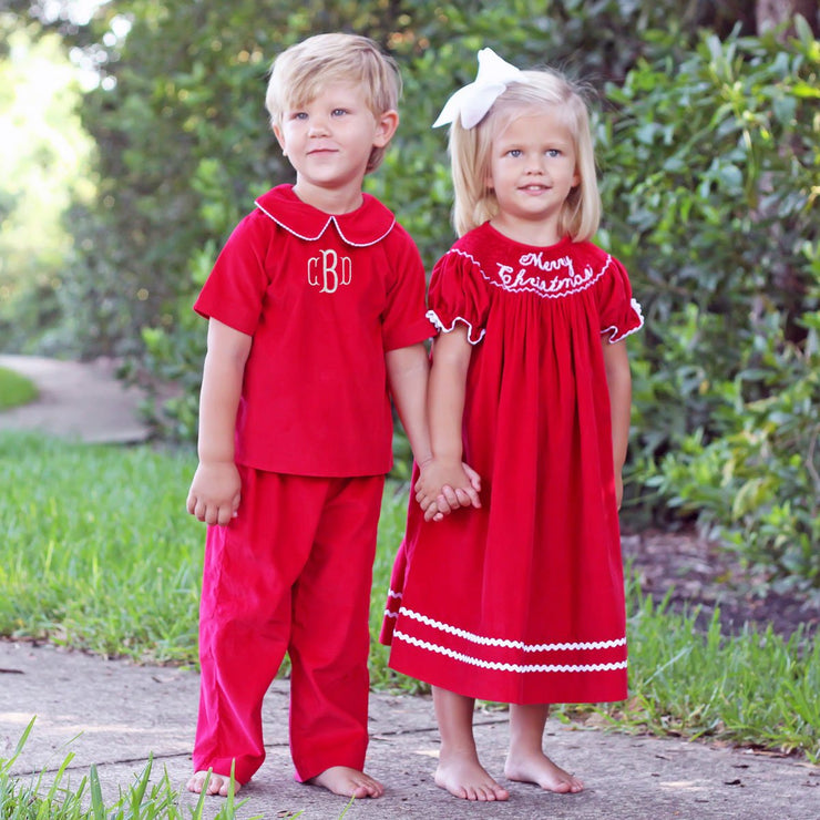 Red Corduroy Boy Pant Set