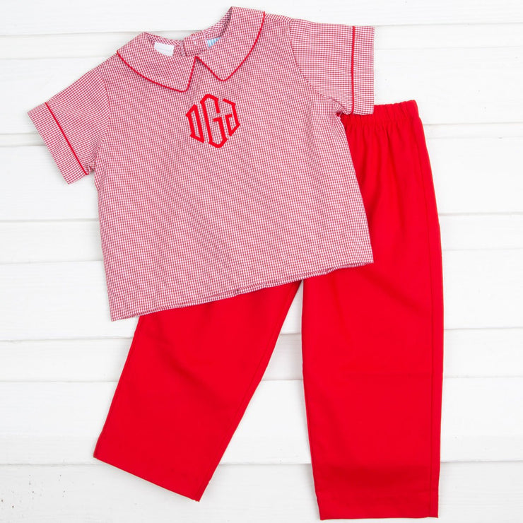 Red Gingham Collared Pant Set