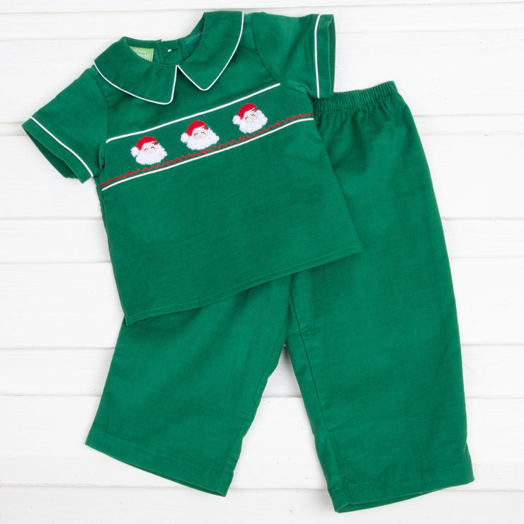 Santa Face Smocked Pant Set Green Corduroy