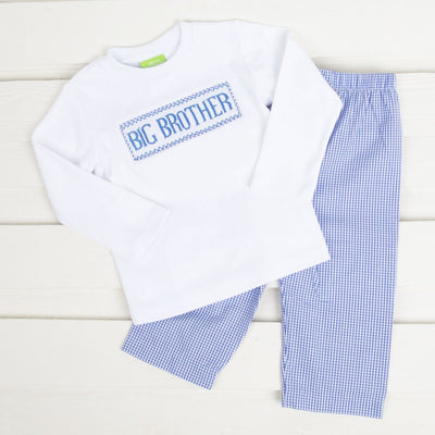 Smocked Big Brother Pant Set Royal Blue Plaid