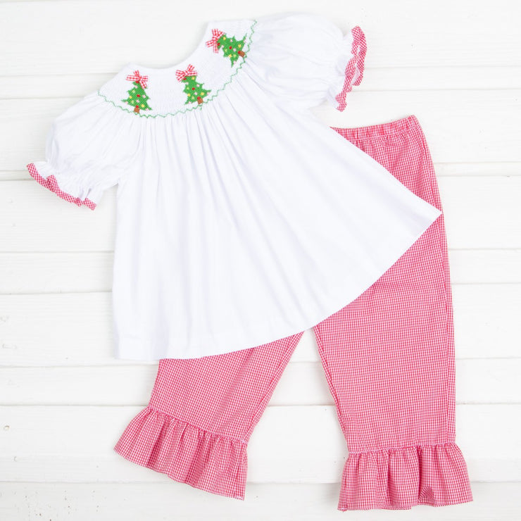 Smocked Christmas Tree Pant Set White and Red Gingham