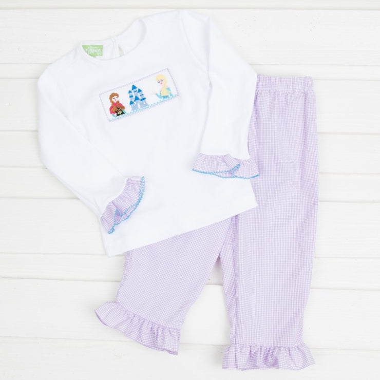 Smocked Ice Princess Ruffle Pant Set White and Lavender Gingham