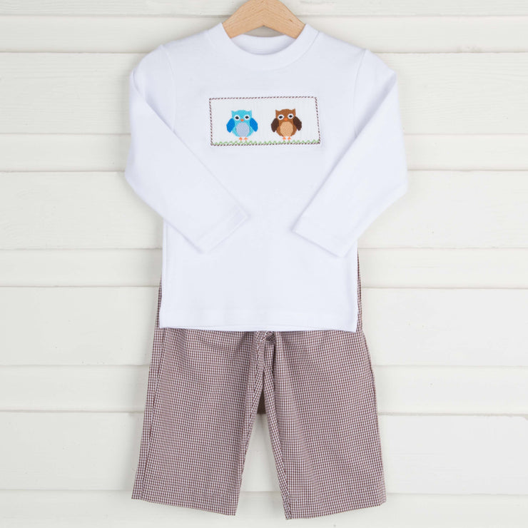 Smocked Owl Brown Gingham Pant Set