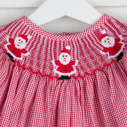 Smocked Santa Girls Pant Set Red Gingham