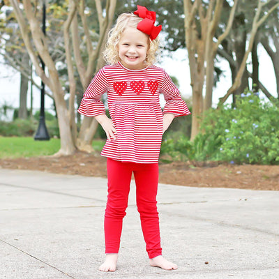 Three Heart Red Stripe Legging Set