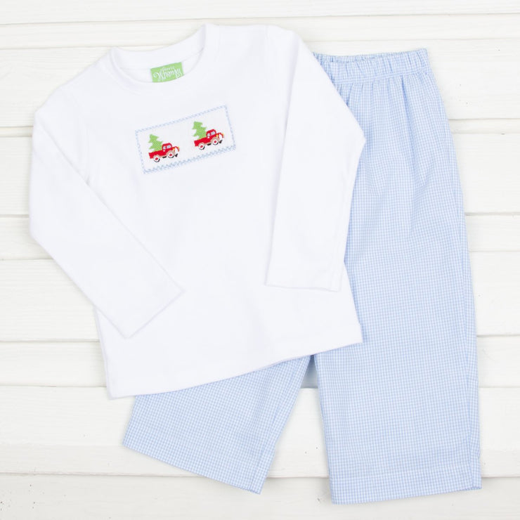 Tree Truck Smocked Pant Set Blue Gingham