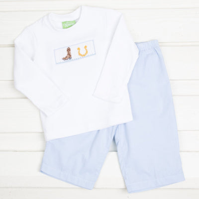 Western Smocked Pant Set Light Blue Gingham