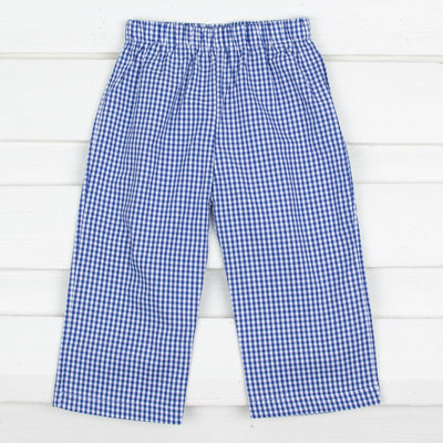 Cobalt Blue Gingham Pants