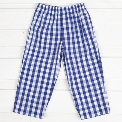 Navy Check Pants