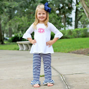 Navy Stripe Double Ruffle Leggings