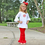 Red Double Ruffle Leggings