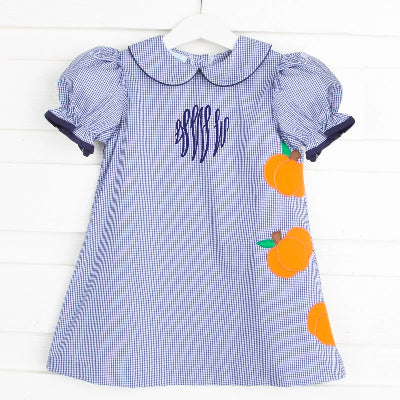 Pumpkin Applique Sally Dress Navy GIngham